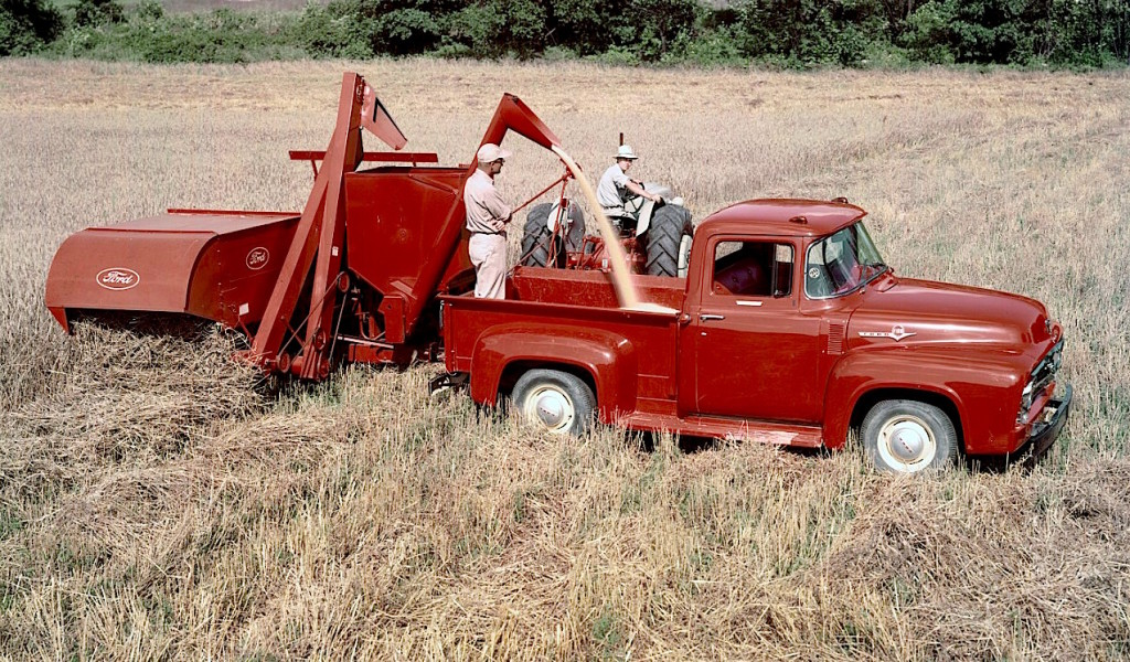 1956-Ford-F-100-pickup-with-tractor-and-combine-neg-C800-33-2