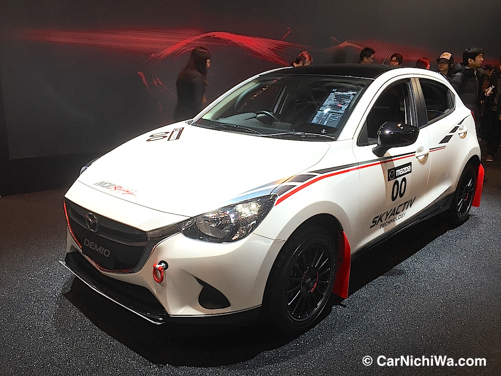Also displayed was a mazda demio 15mb racing spec above mazda roadster nr a racing spec and cx 3 and atenza racing concepts